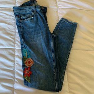 Zara floral print jeans